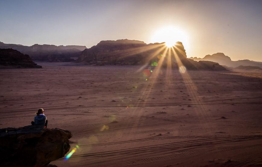 Watching the sunset in Wadi Rum