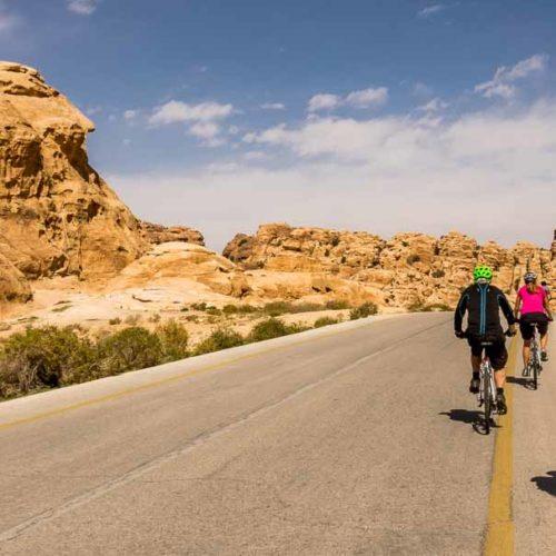 Biking in Jordan to Little Petra