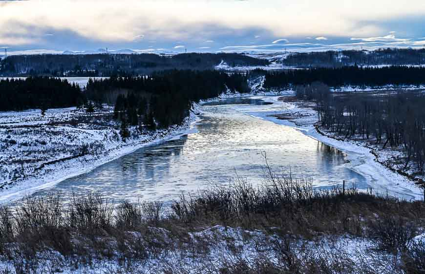 The Bow River looks frigid on a December day