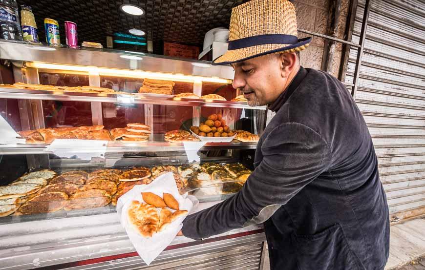 Savoury street pastries in Amman