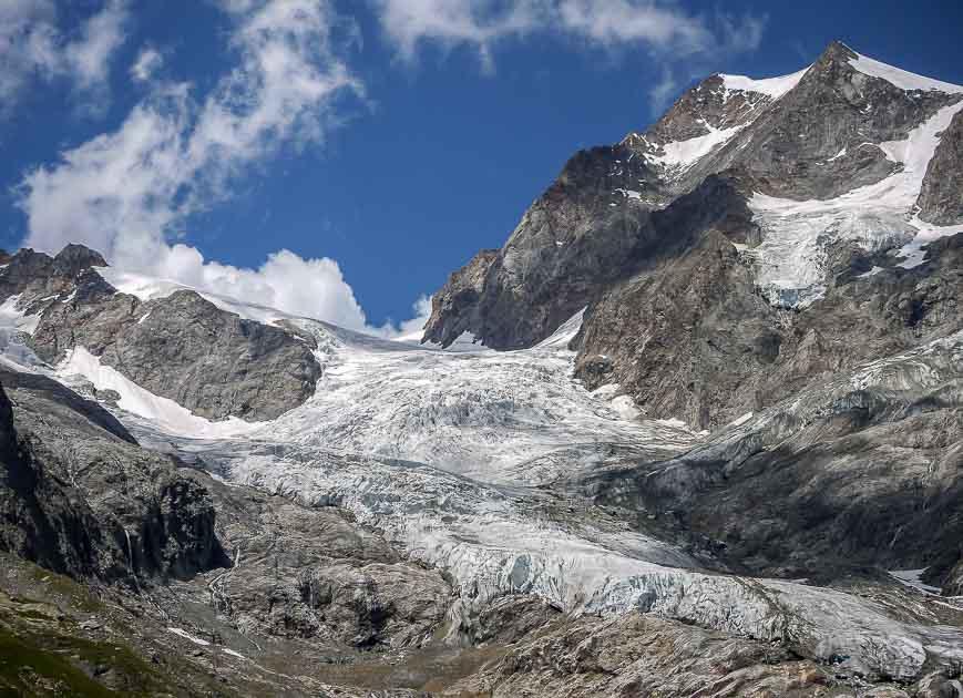 Glaciers near Rifugio Elisabetta on the Tour du Mont Blanc