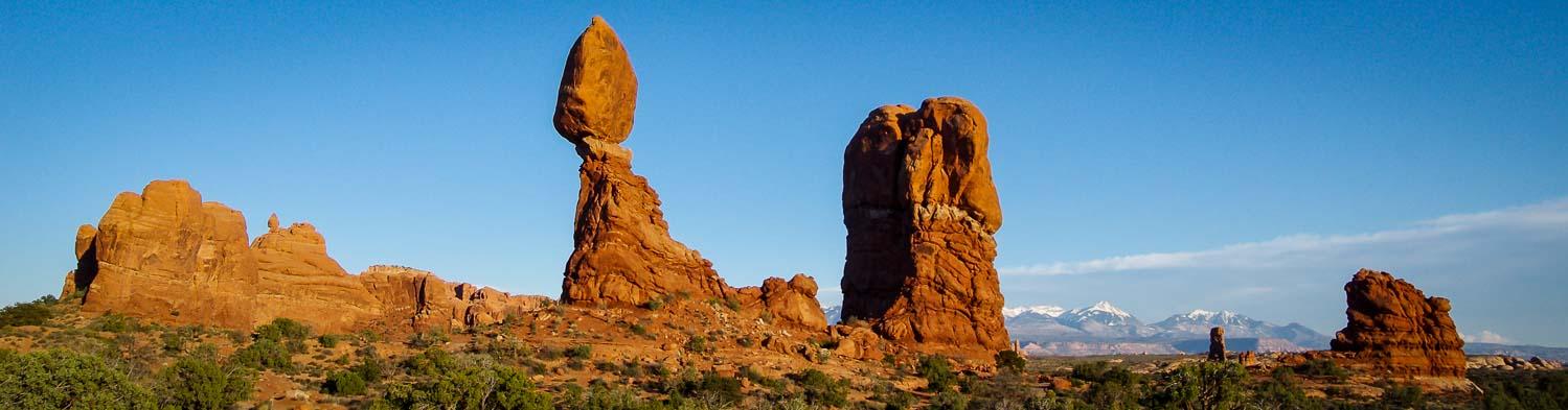 Balanced Rock At Sunset Arches National Park Hike Bike Travel