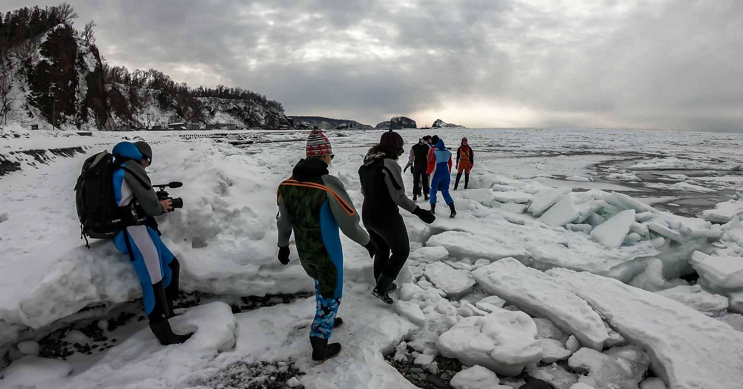Drift Ice Walking In Hokkaido, Japan