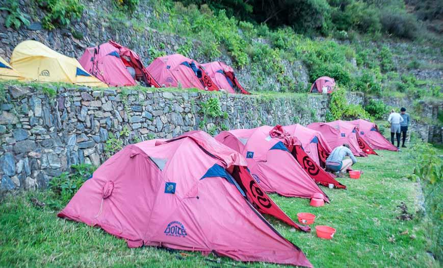 Choququirao trek camping on the Incan terraces