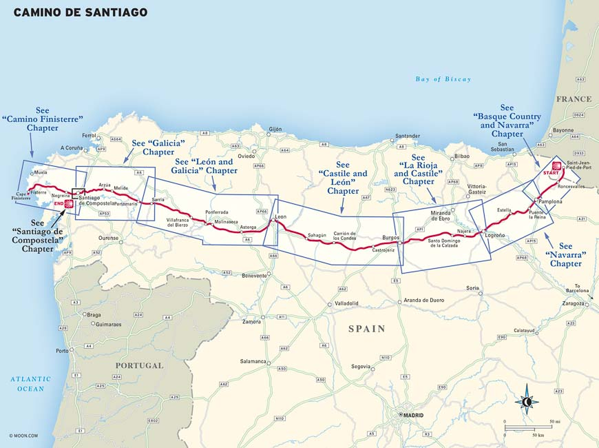 A location map of the Camino de Santiago