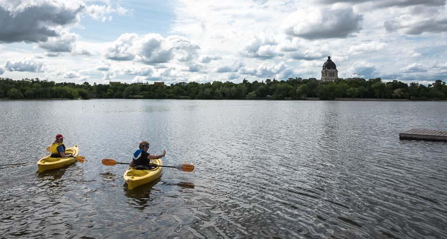 Kayaking on Wascana Lake in Regina
