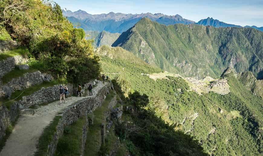 The pretty walk up to the Sun Gate at Machu Picchu