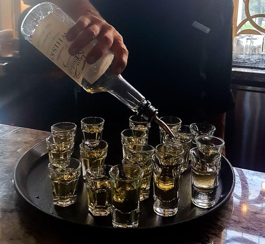 All patrons in the Hotel Saskatchewan lobby bar get a shot at 5 PM