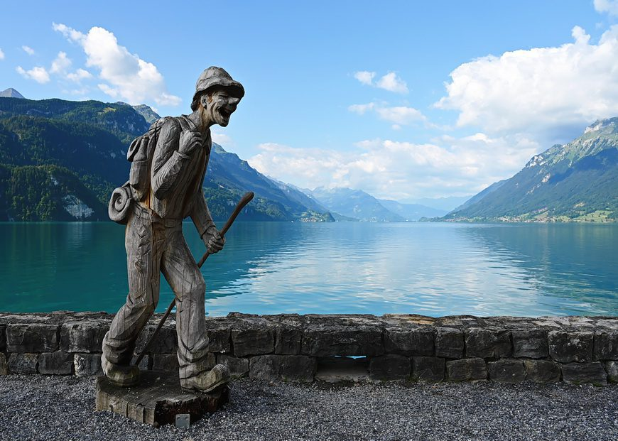 Hiking sculpture on the shores of Lake Brienz