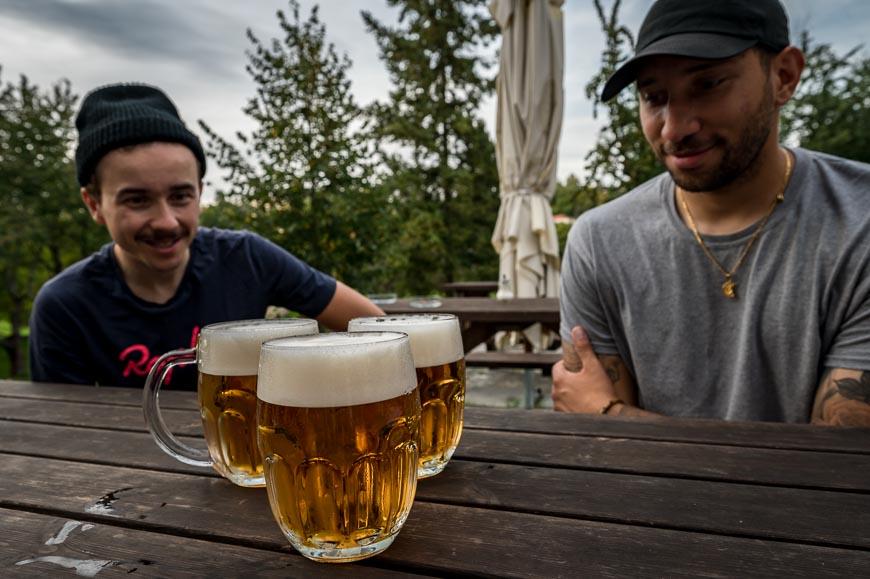 Beer time in Cesky Krumlov
