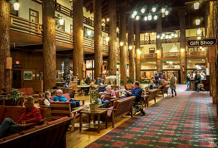 Inside the main entrance of Glacier Park Lodge