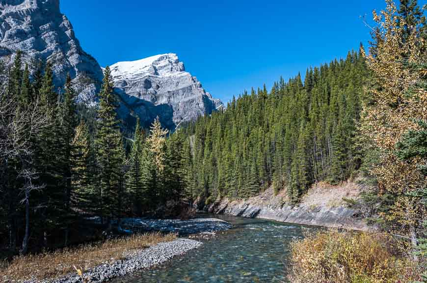 The hike to the lakes starts by crossing the Kananaskis River