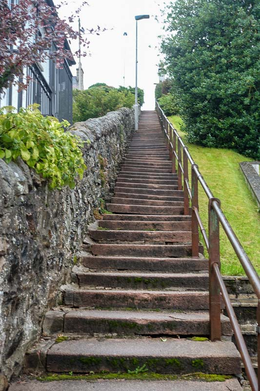 99 stairs to our B&B