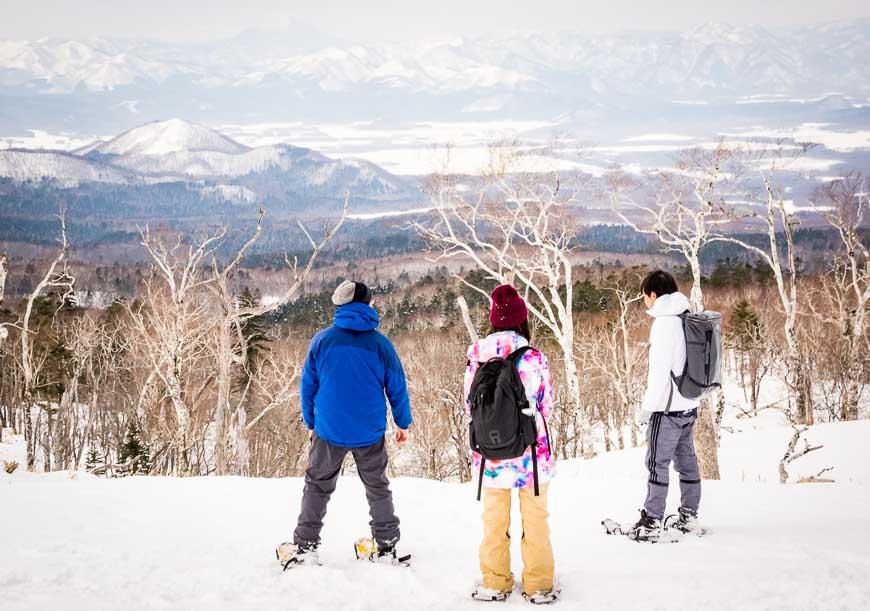 Scenic snowshoeing at Lake Mashu