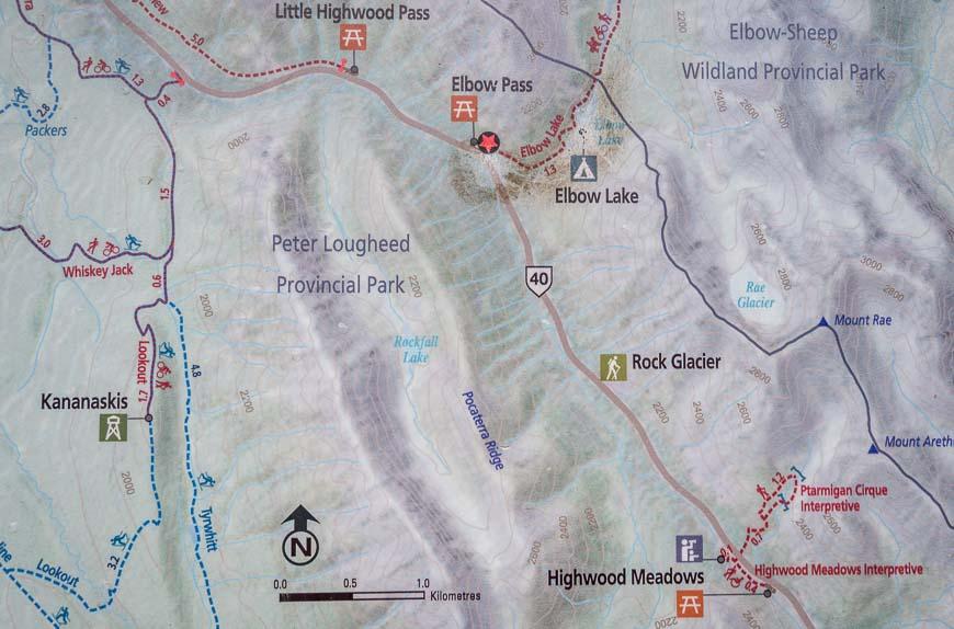 Map showing Elbow Lake & Rae Glacier