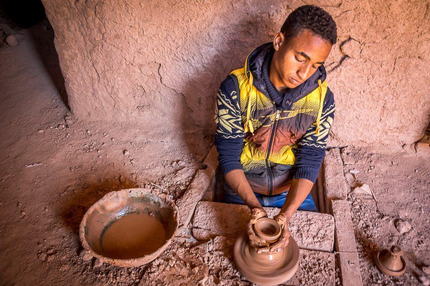 A man making pottery in Amezrou