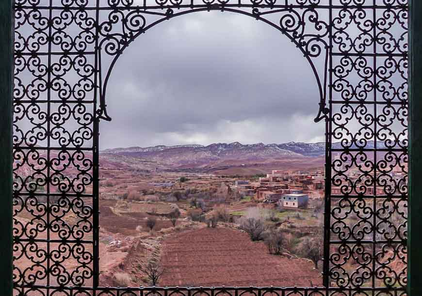 Looking out from the upper floor of the kasbah in Telouet - one of the places to visit in Morocco
