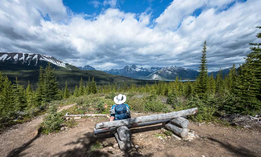 A top to enjoy the view at a bench on the High Rockies Trail