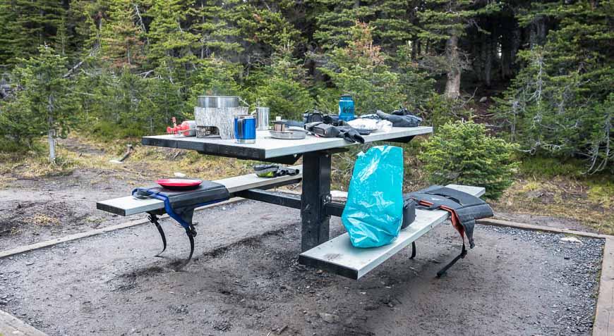 There are bear lockers and picnic tables at Three Isle Lake