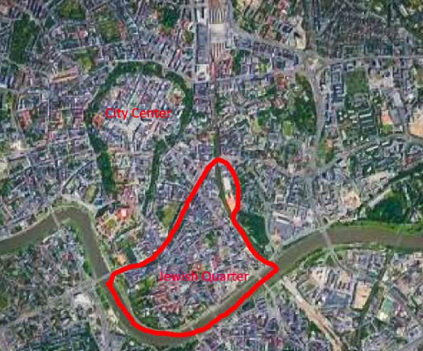 Map of Krakow highlighting the Jewish Quarter