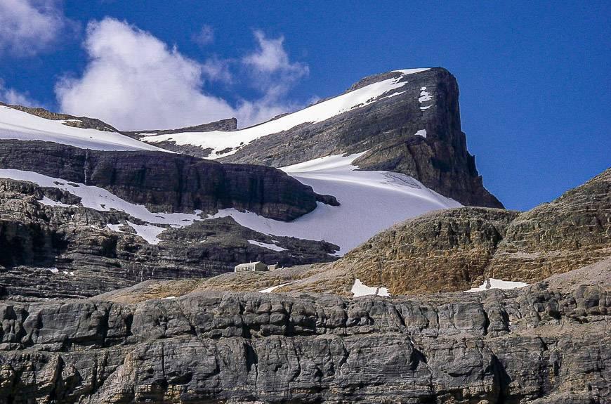 Bow Glacier Hut seen below St. Nicholas Peak
