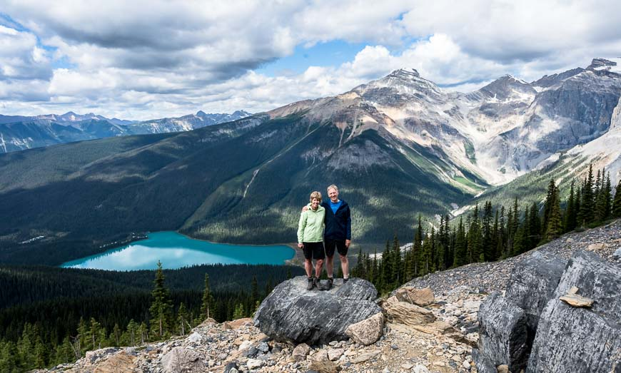 On the Burgess Shale hike with Emerald Lake behind John and I
