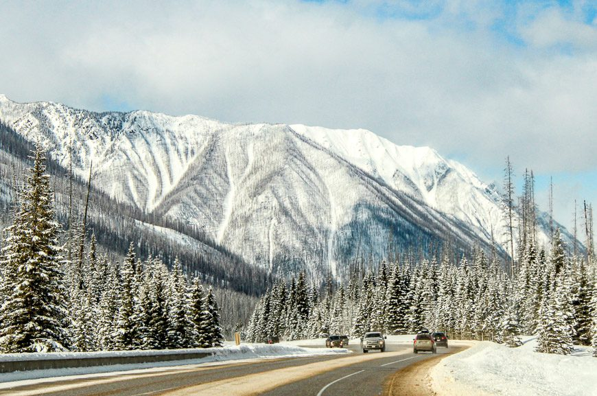 The drive through Kootenay National Park in winter is beautiful but it can be treacherous