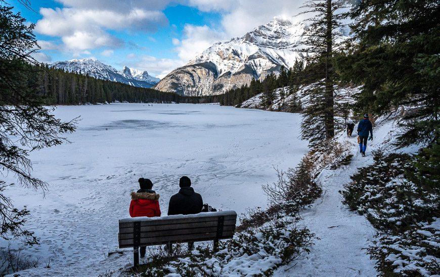 Snowshoeing in Banff National Park at Johnson Lake