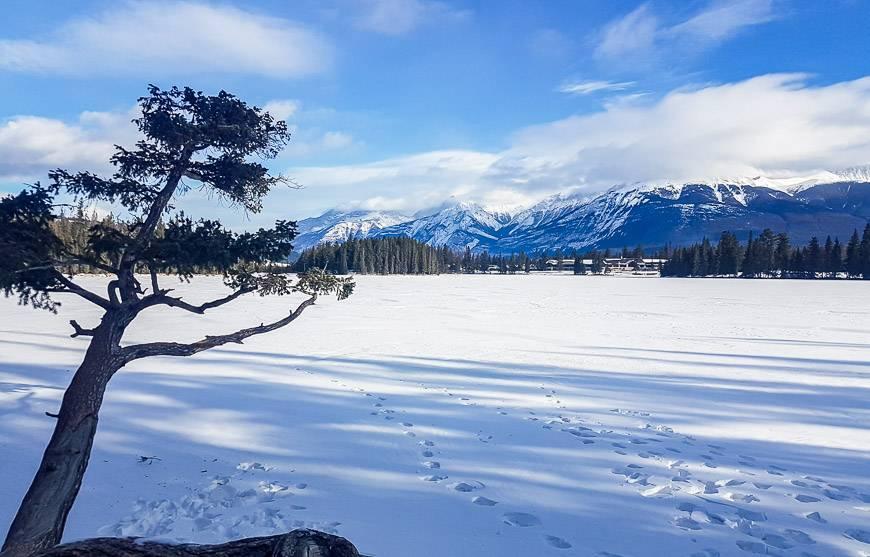 Stunning views across Lac Beauvert towards the Fairmont Jasper Park Lodge