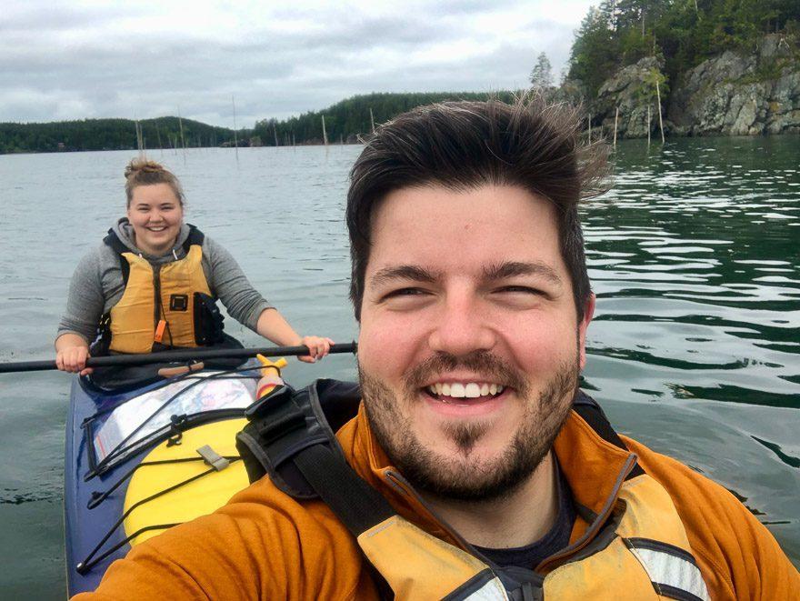 Jen and I enjoying the tandem kayak near the Fundy Isles in New Brunswick