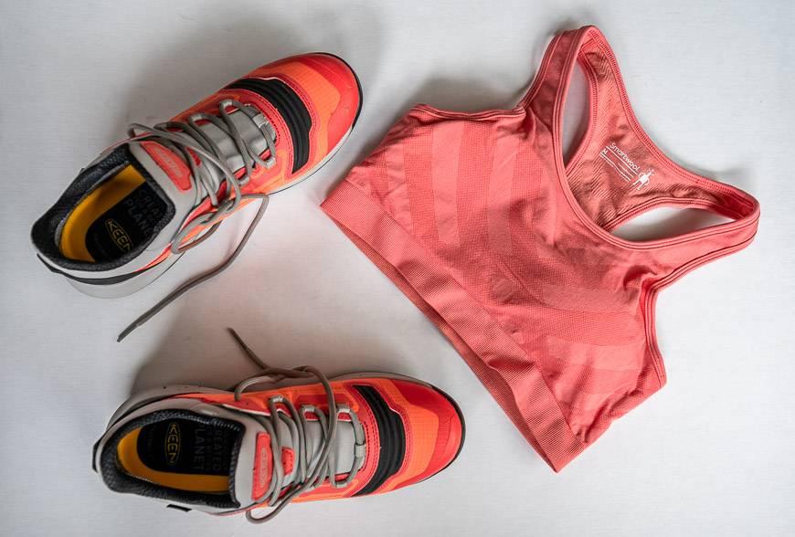 The women's seamless racerback bra matches my KEEN shoes
