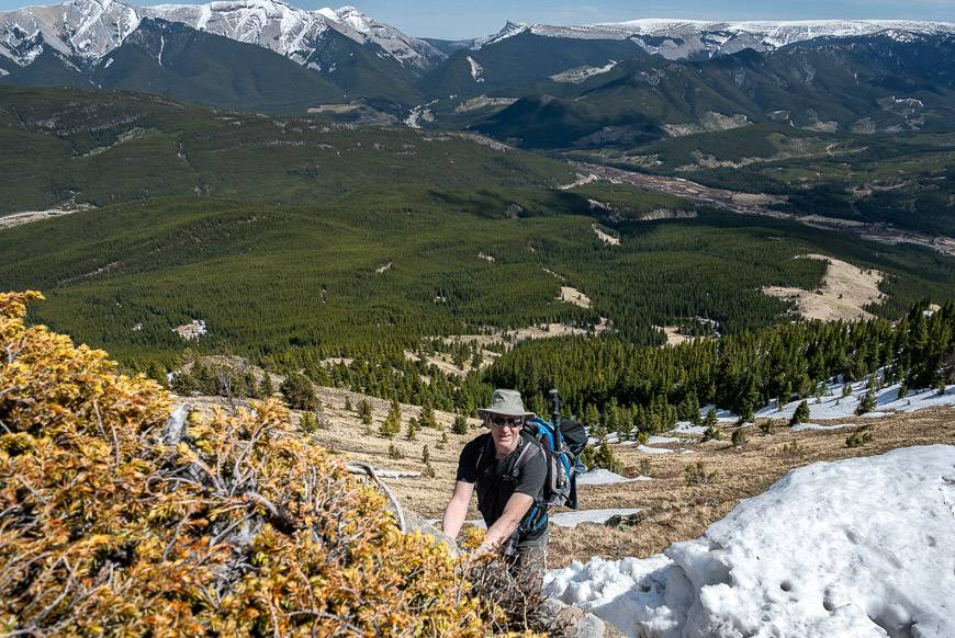 The crux of the Raspberry Ridge hike in spring is the short but steep climb up a cornice