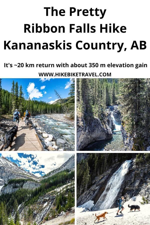 The beautiful hike to 30 m high Ribbon Falls in Alberta's Kananaskis Country