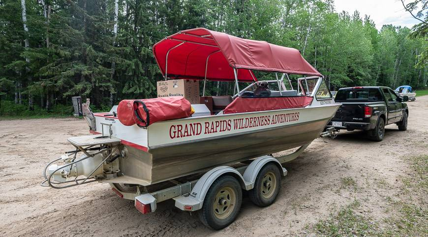 The jet boat we used to get to Grand Rapids Wilderness Adventures lodge