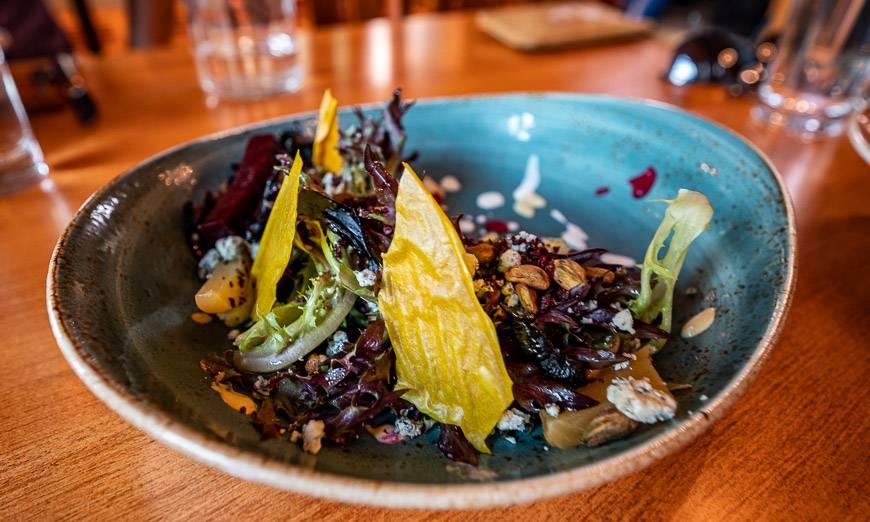 Beet salad with beets presented 5 ways