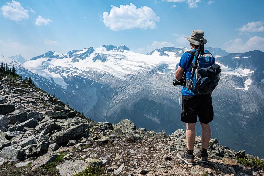 John admiring the view of the Asulkan Glacier from the Glacier Crest Trail