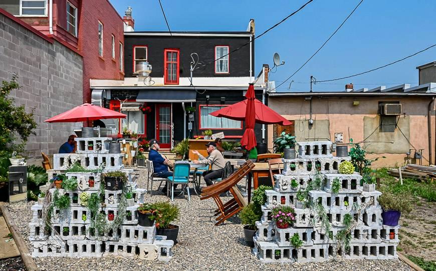 The outdoor patio at Sweetgrass Café