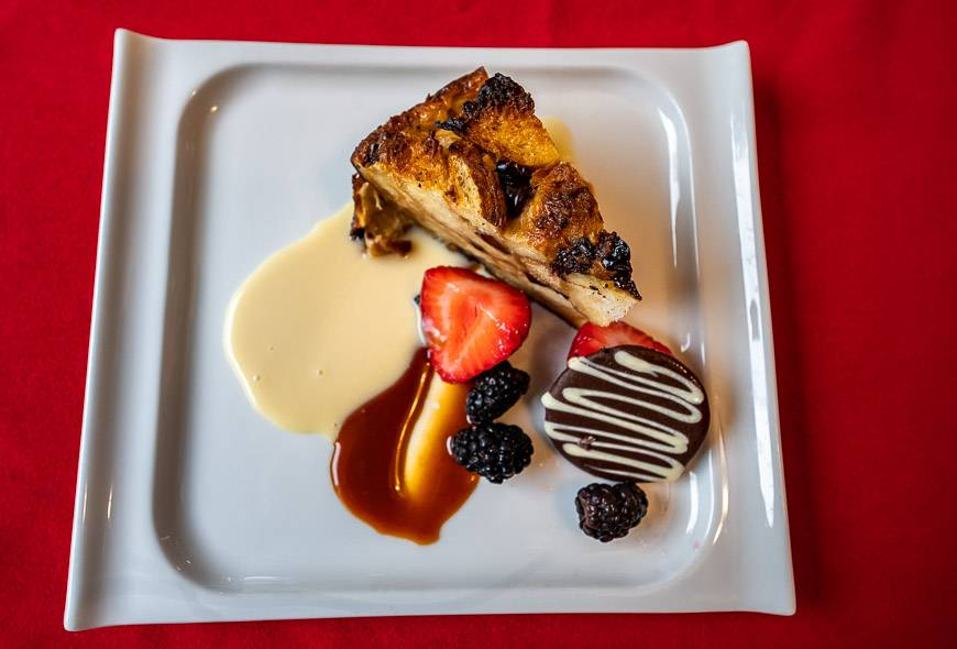 We enjoyed a decadent bread pudding on the second evening