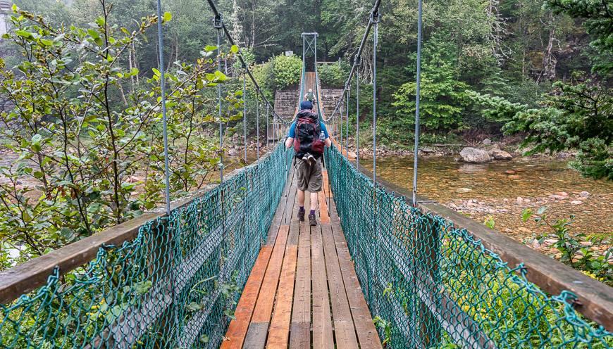 Crossing the Big Salmon River Suspension Bridge