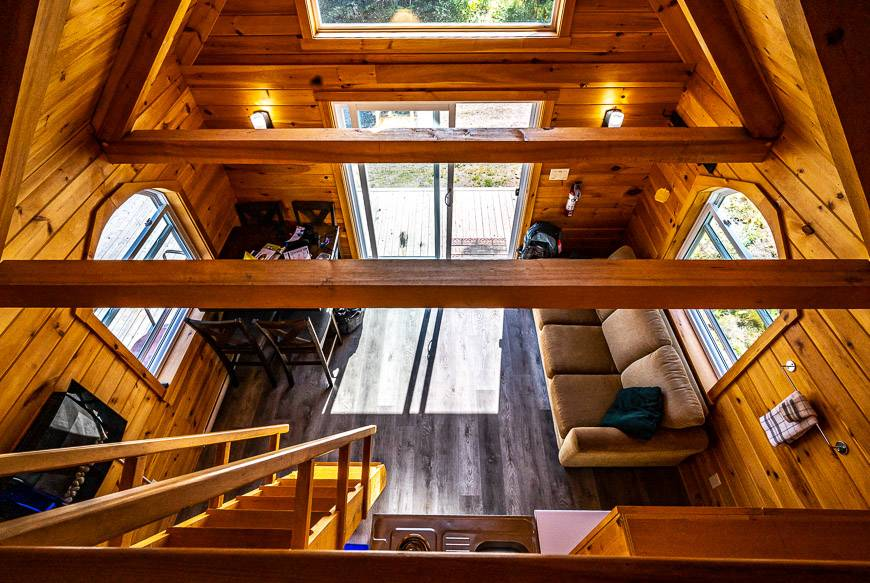 Looking down from the loft in my glamping cabin